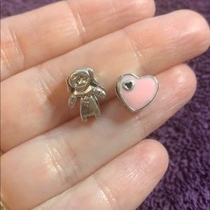 Jewelry - Girl pink heart sterling silver European Charms